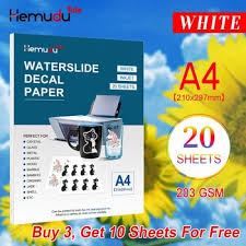 Best Offer D6394 A4 20sheets 203gsm Inkjet Water Slide Decal Transfer Paper White Printing Paper White Waterslide Decal Paper Cicig Co