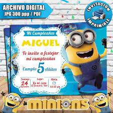 Invitaciones De Cumpleanos Digitales Personalizadas Minions