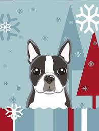 winter holiday boston terrier flag