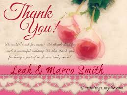 wedding thank you notes wordings and