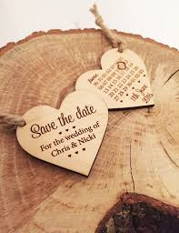 save the date wooden heart by design by