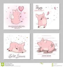Ejemplos Lindos Del Vector De Los Cerdos Conjunto De Tarjetas De