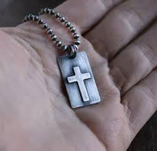 men s small silver cross pendant mens