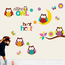 Wall Stickers Cartoon Owl Children Picture Decals Wall Art Mural Babymomplanet