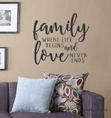 Family Where Life Begins And Love Never Ends Vinyl Wall Decal Wall Quotes Decals Words For Th Wall Quotes Decals Vinyl Wall Decal Quote Wall Quotes Decals Diy