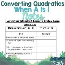 converting quadratic equations from