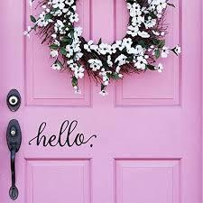 Battoo Hello Door Decal Door Decals Door Stickers Door Signage Hello Stickers Front Door Decal Entryway Decal Wall Decor 9 X 4 Black Amazon Com