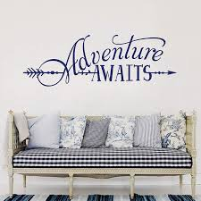 Amazon Com Battoo Adventure Awaits Wall Decal Quote Vinyl Lettering With Arrow Adventure Quote Travel Wall Decal Sticker 42 W 14 H Tribal Theme Room Decor Dark Blue Kitchen Dining