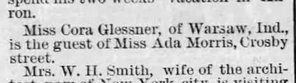 Ada Morris, Crosby St.; Miss Cora Glessner, Warsaw, Ind. - Newspapers.com
