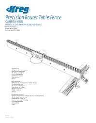 Kreg Prs1015 Precision Router Table Fence User Manual 32 Pages