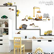 construction vehicles wall decal