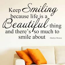 Keep Smiling Wall Decal Marilyn Monroe Quote Wall Decal Etsy