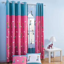 Blue And Rose Red Giraffe Cute Curtains For Kids Room