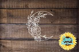 Crescent Moon With Floral Outline Waterproof Vinyl Decal Etsy