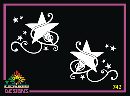 Set Of Stars And Curls Vinyl Decal