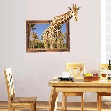 3d Giraffe Fake Window Wall Stickers Gopowear Com