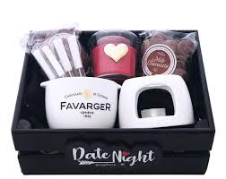 chocolate fondue date night gift basket