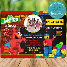 Invitaciones De Cumpleanos De Elmo Y Lego Joint Twins Imprimibles