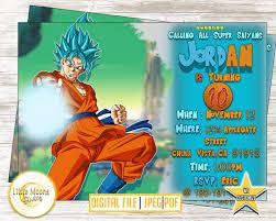 Dragon Ball Z Fiesta De Goku Invitaciones De Cumpleanos Cumpleanos
