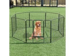 32 8 Metal Panel Heavy Duty Pet Playpen Dog Exercise Pen Cat Fence Safety Gate Newegg Com