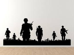 Military Silhouette Soldiers Walking On Patrol Marine Army Vinyl Wall Decal Ebay