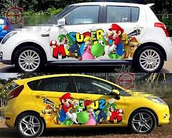 Set Super Mario Game Cute Full Color Car Graphics Decal Vinyl Sticker Both Sides Ebay