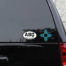 Zia Symbol Two Sticker Set 4 Turquoise Weatherproof Window Vinyl Decals Spacedust