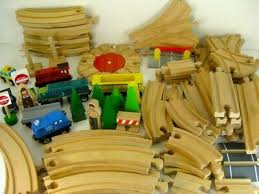 lot wood wooden train tracks cars