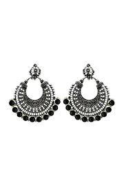 oxidise black beads afghani chandbali