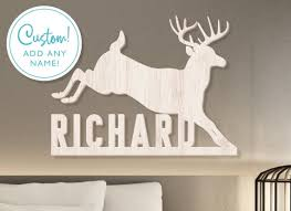 Buck Deer Wall Sign Hunting Theme Wall Decor Kids Name Sign Wood Name Sign Kids Room Decor Personalized Name Sign Deer Stag Name Sign By Labelsrus Catch My Party