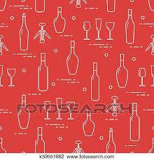 pattern of wine glasses bottles
