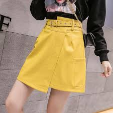 leather skirt women high waist slim