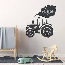 Custom Kids Name Truck Tractor Wall Sticker Vinyl Home Decor For Boys Room Nursery Decals Cartoon Personalized Name Mural Na57 Wall Stickers Aliexpress