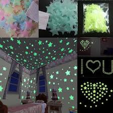 100pcs Wall Stickers Decal Glow In The Dark Baby Kids Bedroom Home Decor Color Stars Luminous Fluorescent Wall Stickers Decal Wish