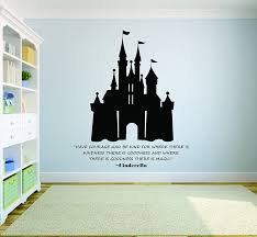 Amazon Com Cinderella Princess Wall Decal Disney Wall Art Vinyl Decals Stickers For Girls Bedroom Room Removable Designs For Girl Walls Have Courage Castle Size 20x20 Inch Home Kitchen