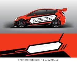 Orange Theme Racing Car Wrap Design Template Vector Eps10 Sedan Hatchback Racing And Dirt Car Sticker Decal And Wrap Car Wrap Design Car Wrap Car