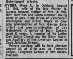 Royce, Myra Myers death notice 1963 - Newspapers.com