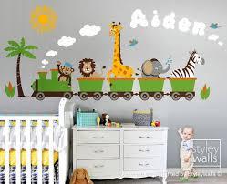 Jungle Animals Train Wall Decal Safari Animals Wall Sticker Etsy