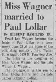 Paul Lollar Weds Pearl Lee Wagner - Newspapers.com