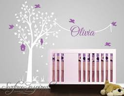 Elegant Tree Wall Decal With Birds And Custom Name Nursery Wall Decals Nursery Wall Decals Boy Name Wall Stickers