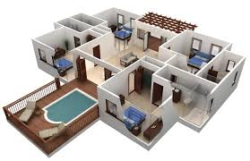4 bedroom single story house plans 3d