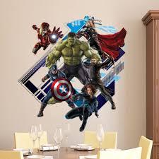 Avengers In Wall Crack Kids Boy Bedroom Decal Art Sticker Gift Superheroes Wall Ebay