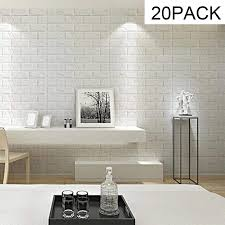 3d Brick Wall Stickers Panel Self Adhesive Peel And Stick White Faux Brick For Wall Decor White 30 3 X27 5 Walmart Com Walmart Com