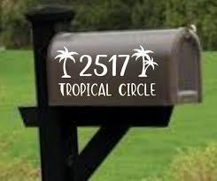 Palm Tree Mailbox Decal Address Decal Mailbox Numbers Mailbox Stickers Mailbox Lettering Mailbox Design