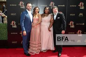 Adam Housley, Tamera Mowry-Housley, Loni Love, James Welsh at 2019 Daytime  Emmy Awards: Red Carpet /