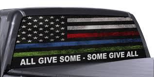 Fgd Brand Truck Rear Window Wrap Police Fire Military American Flag Perforated Vinyl Decal Family Graphix Llc