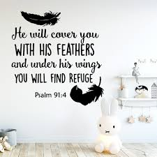 He Will Cover You With His Feathers Psalm 91 4 Scripture Wall Decals Christian Wall Sticker Religious Bible Verse Home Decor Wish
