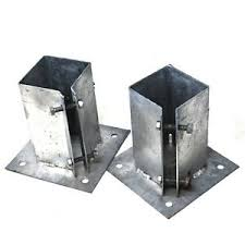 2 X Bolt Down Post Shoes Twin Pack 100 X 100mm Fence Fixing Galvanised Hardware Ebay