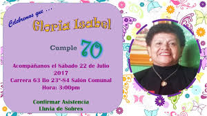 Invitacion Cumple 70 Anos De Gloria Ruiz Youtube
