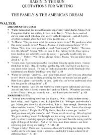 raisin in the sun quotations for writing the family the american
